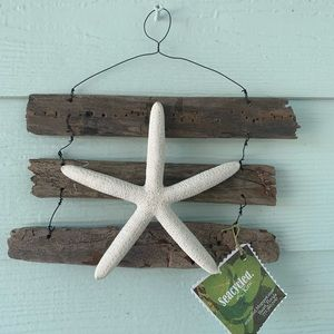 Driftwood and Starfish art wall hanging